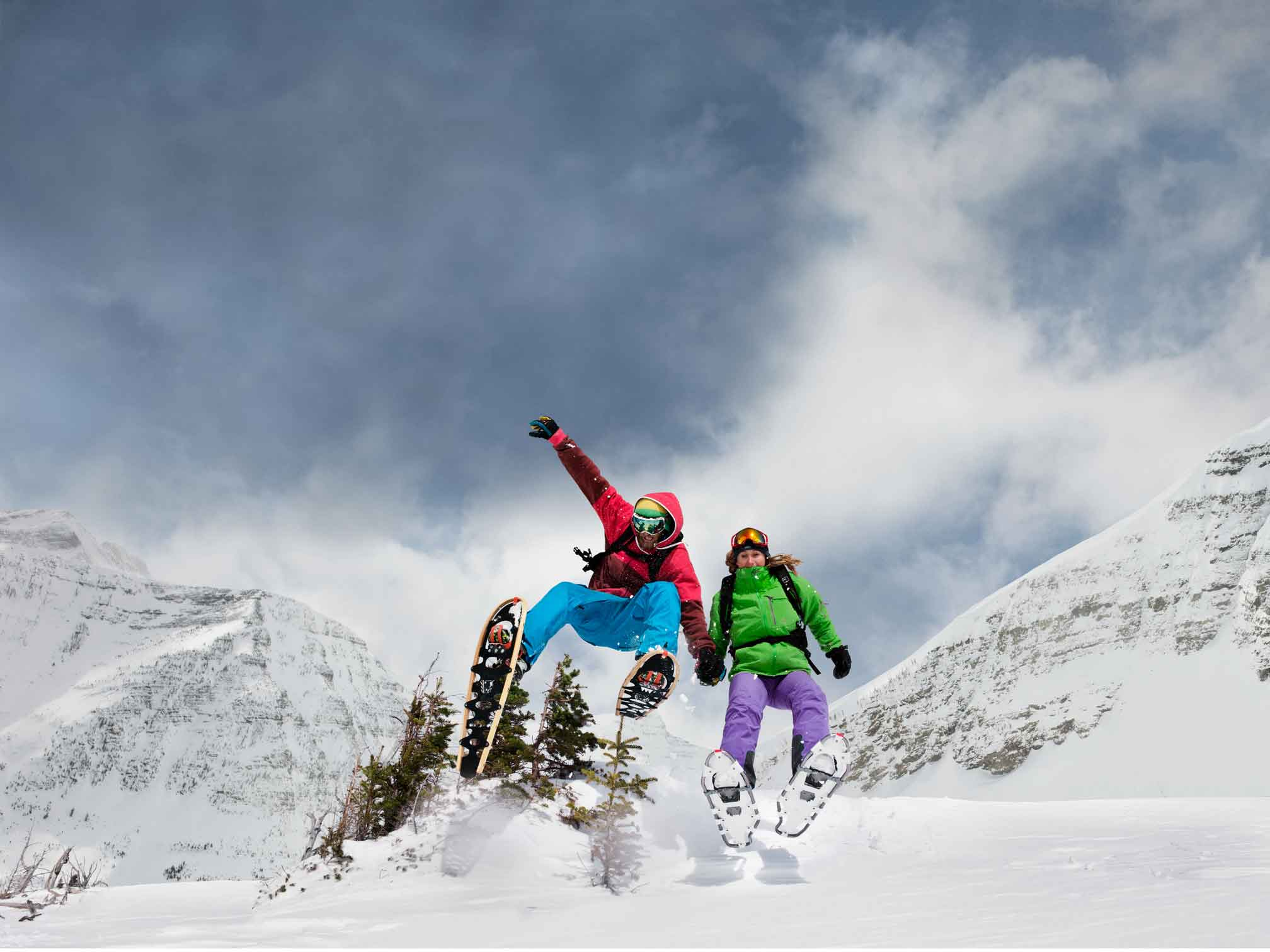 Snowshoeing in the Canadian Rockies is a great way to get outside and Play in the snow! Photo by Anthony Redpath