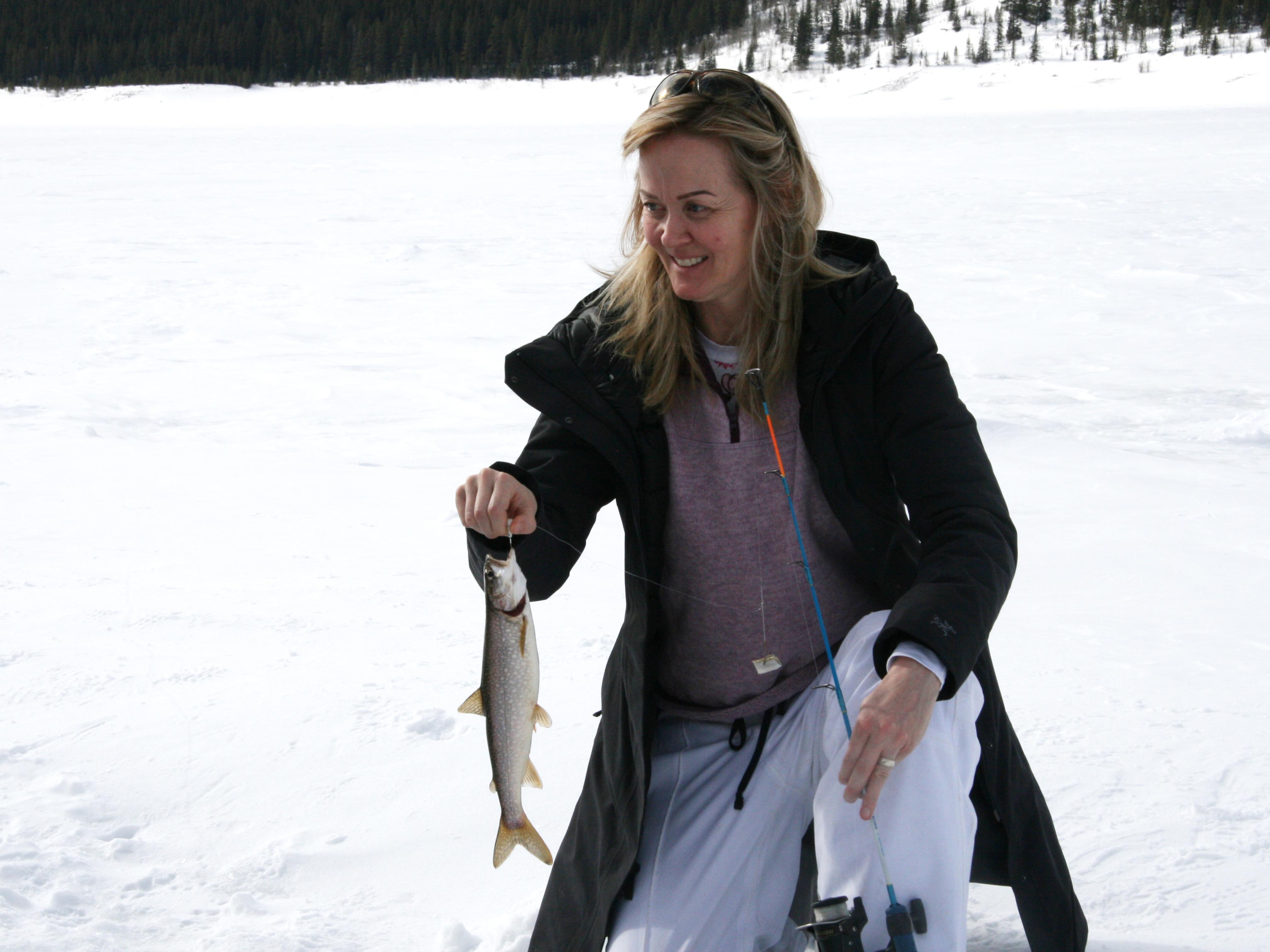 Ice Fishing Spray Lakes Cheryl