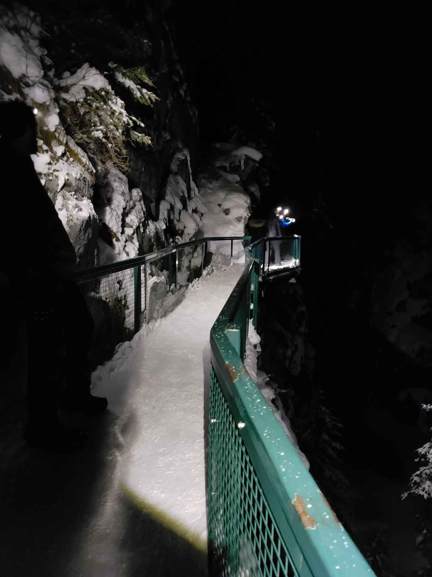 Johnston Canyon walkway at night by Kate Barker
