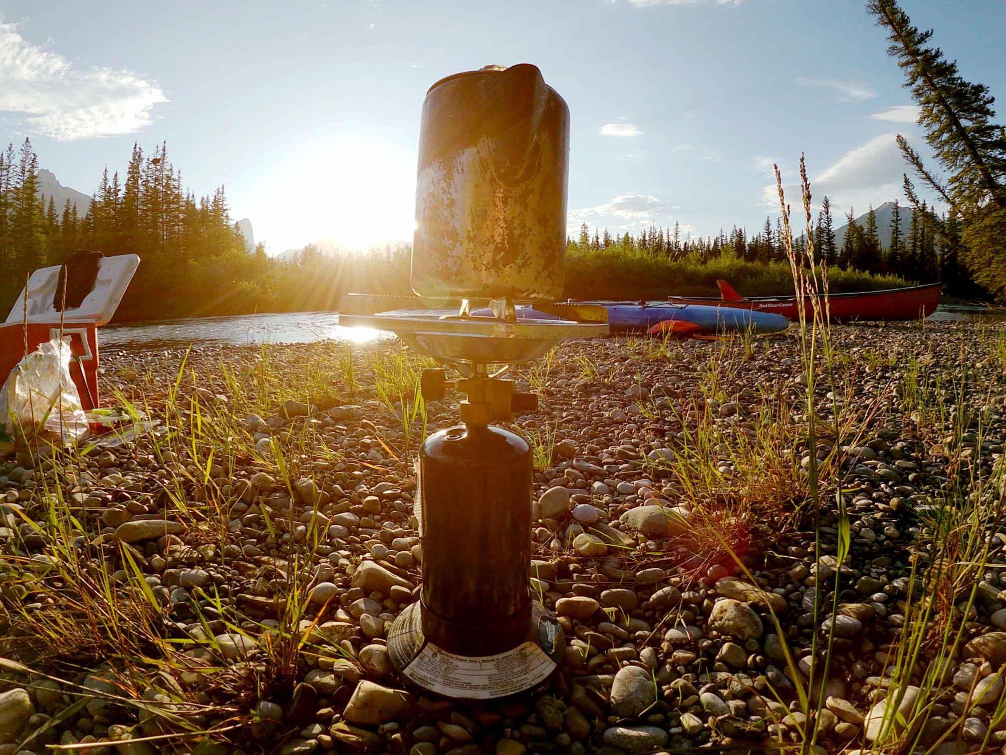 A propane camping stove