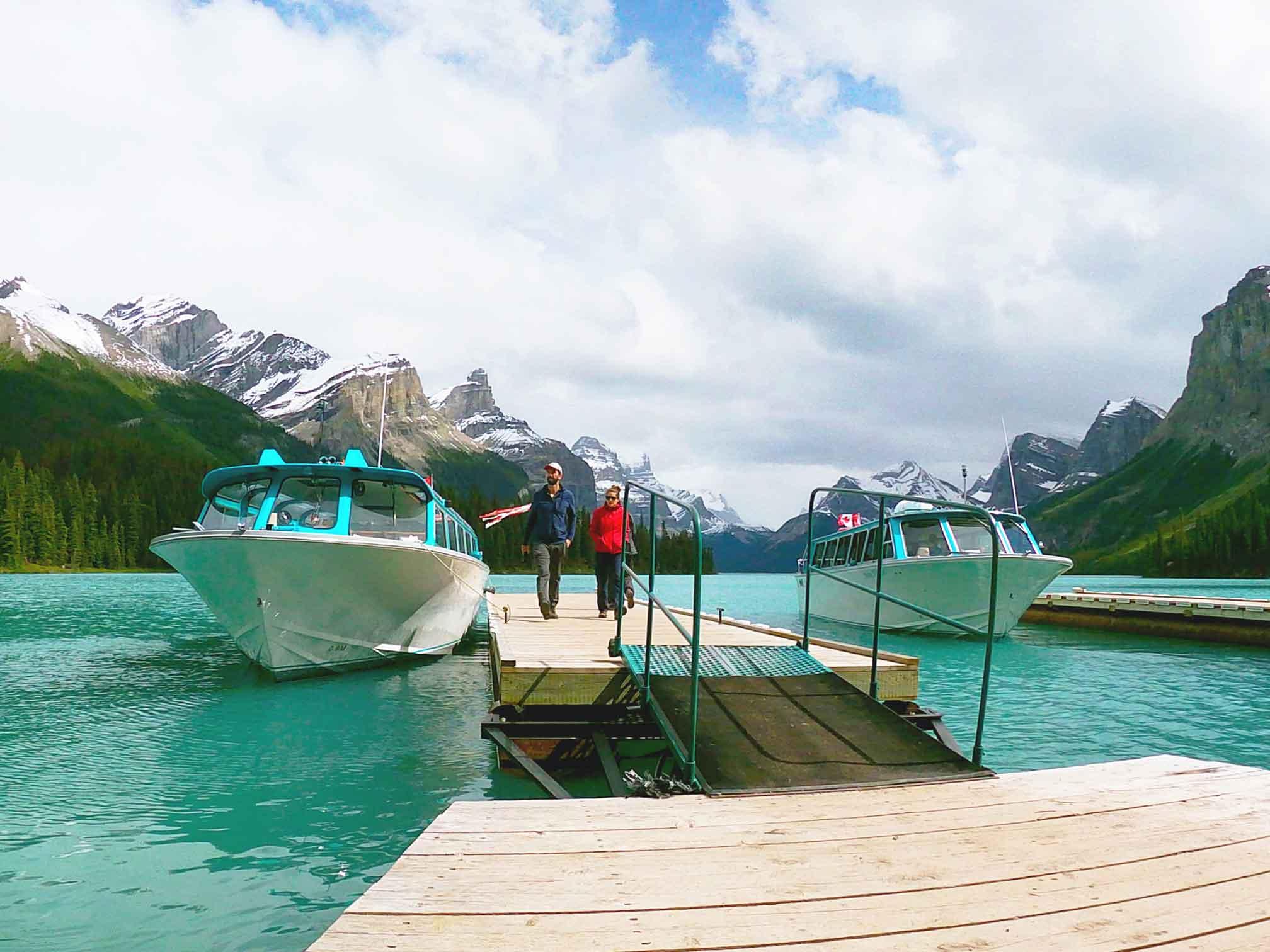 Maligne Lake Boats at Dock