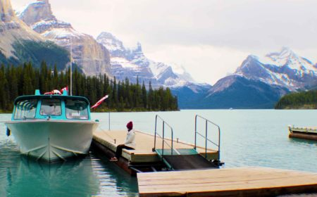 Riding the waves with a Maligne Lake Boat Cruise