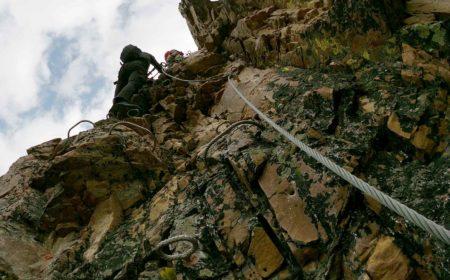 Climbing on the Kicking Horse Via Ferrata