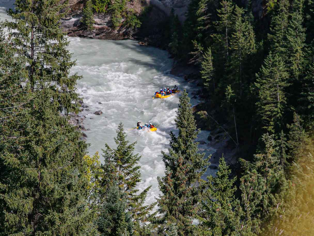 Rafts in the lower canyon