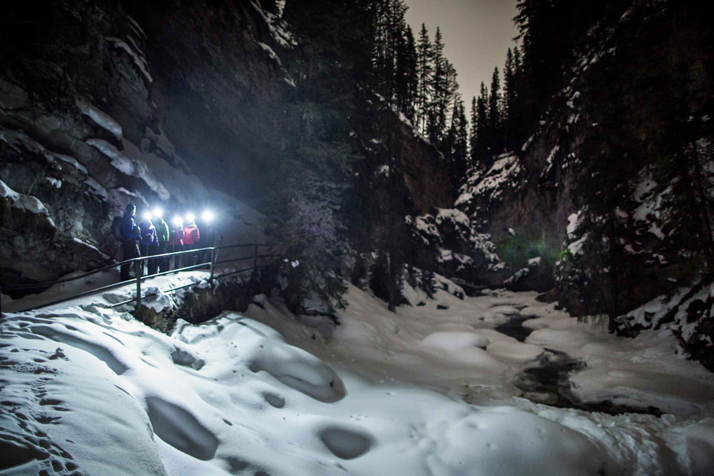 Nighttime Outdoor Adventures Discover-Banff-Tours-Evening-Icewalk-Johnston-Canyon
