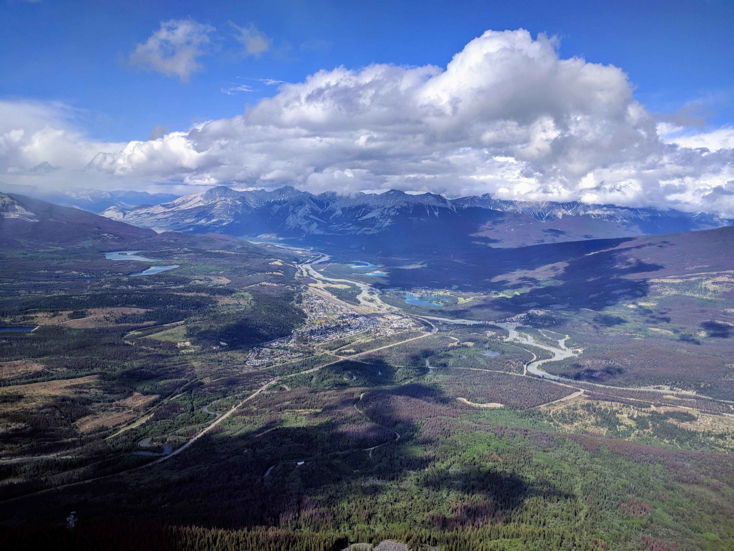 Looking down at the town of Jasper from the top of Whistler's Mountain