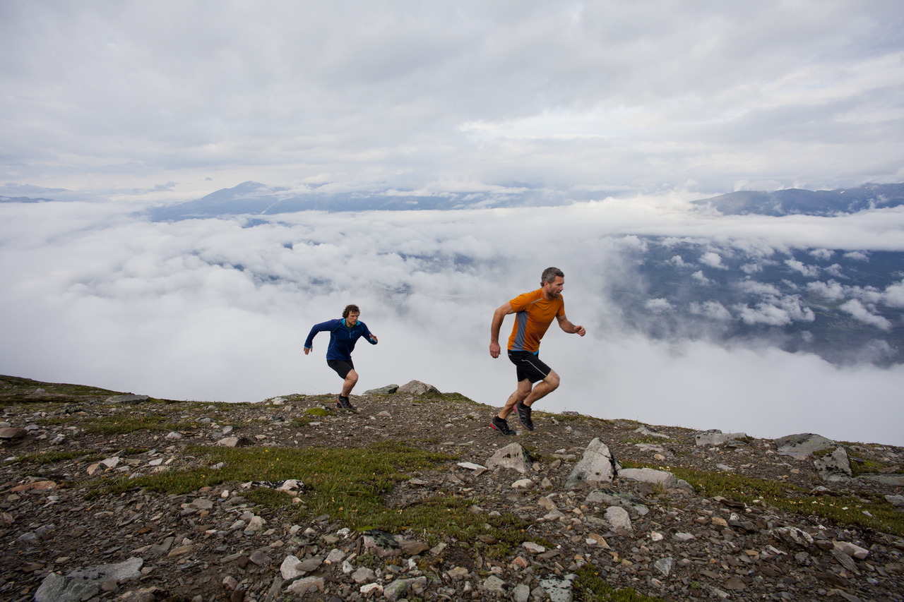 Two people trail running on a mountain ridge in the Canadian Rockies