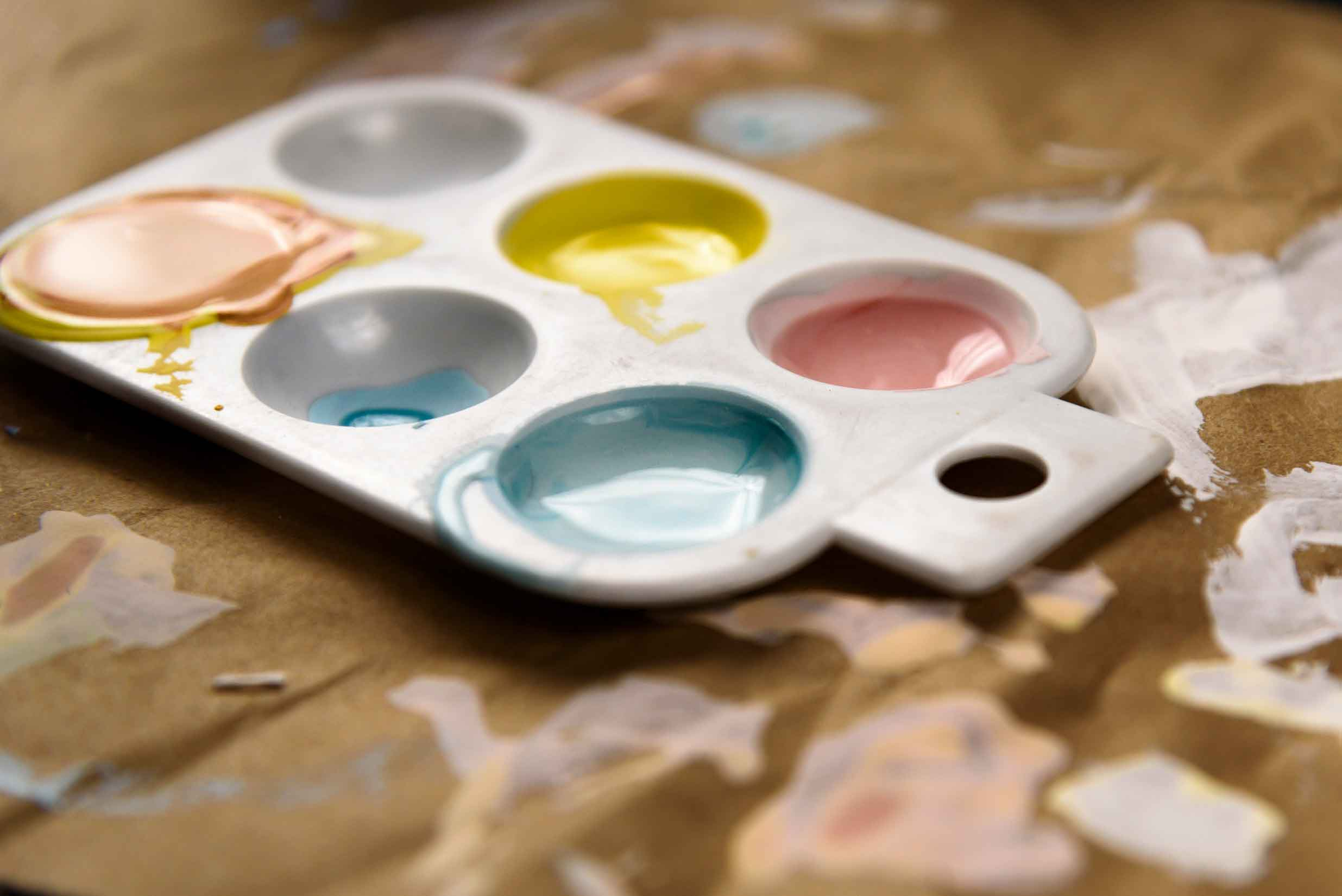 Mini palate of paints mixed and ready to go