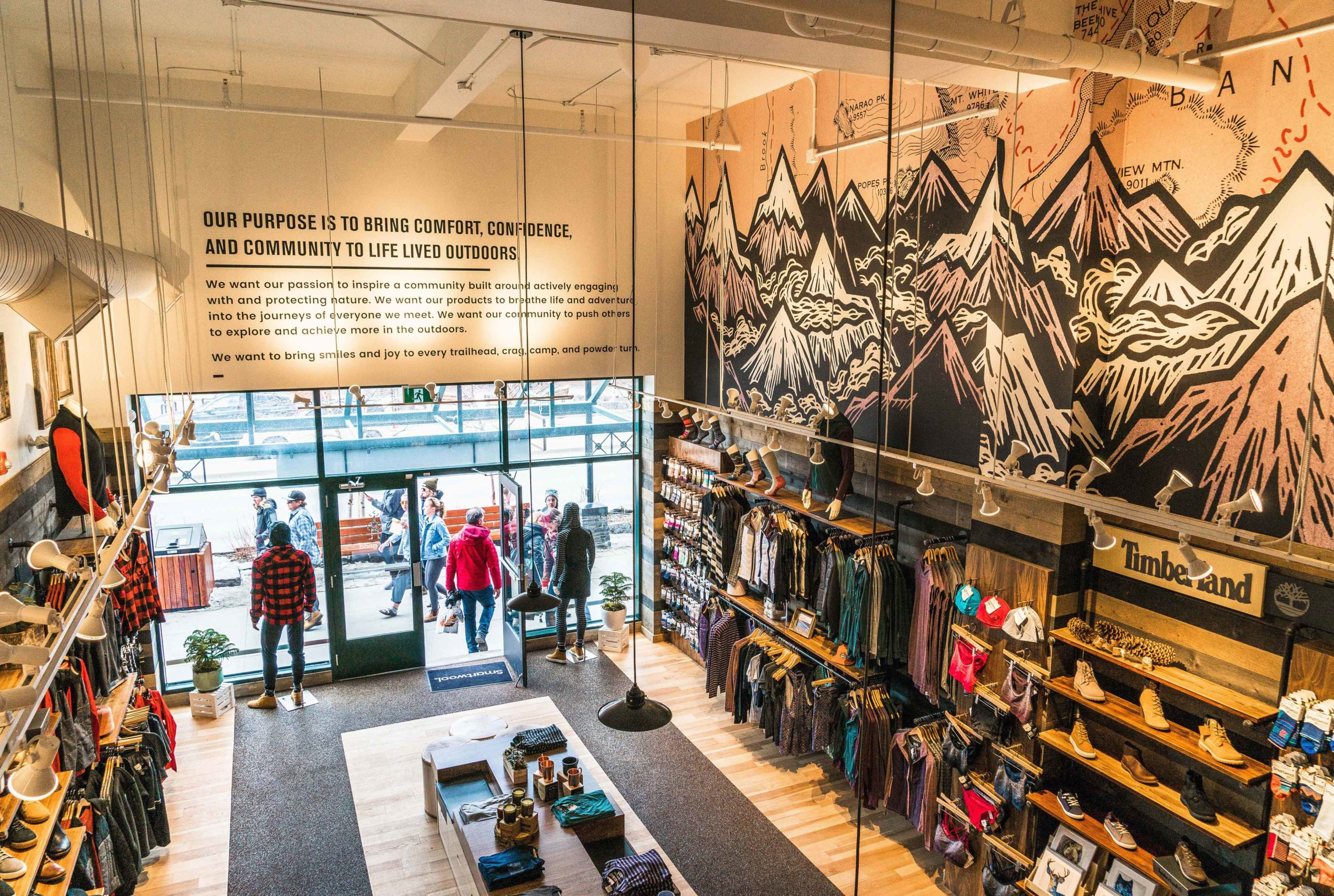 The interior of the Smartwool Banff store was designed to reflect the outdoors. It also meets Covid social distancing requirements.