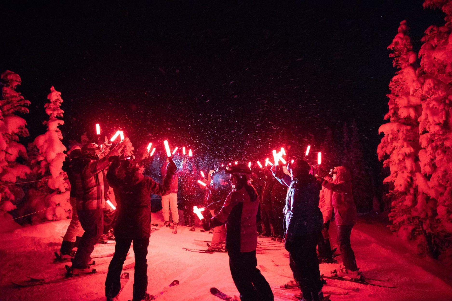 Torchlight Parade at Sunshine Mountain Lodge on Where Rockies