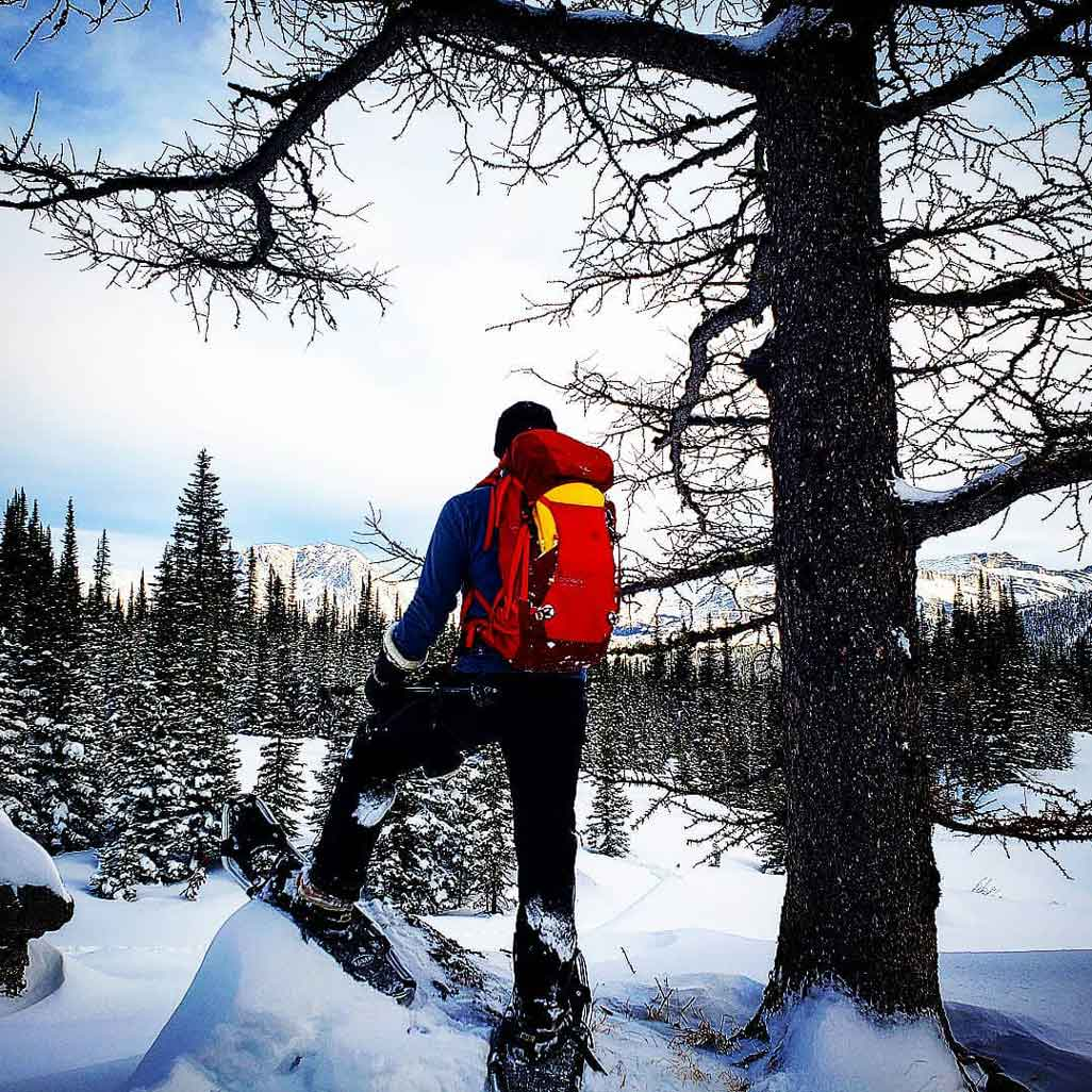 A person on snowshoes stands on a rock overlooking the mountain scenery. This is our guide on the Snowcat Snowshoe Adventure