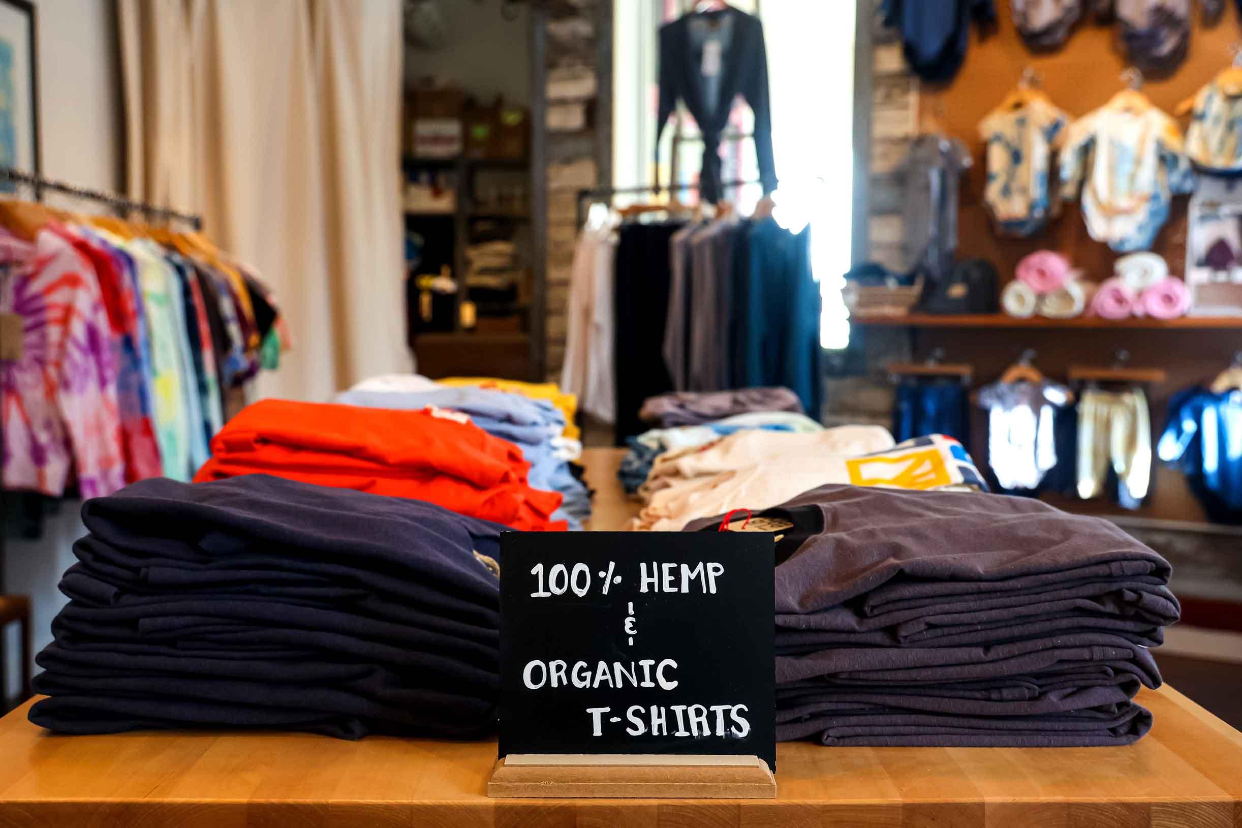 100% Hemp and Organic t-shirts at Liberty Clothing. Photo by Katharyn Sotvedt