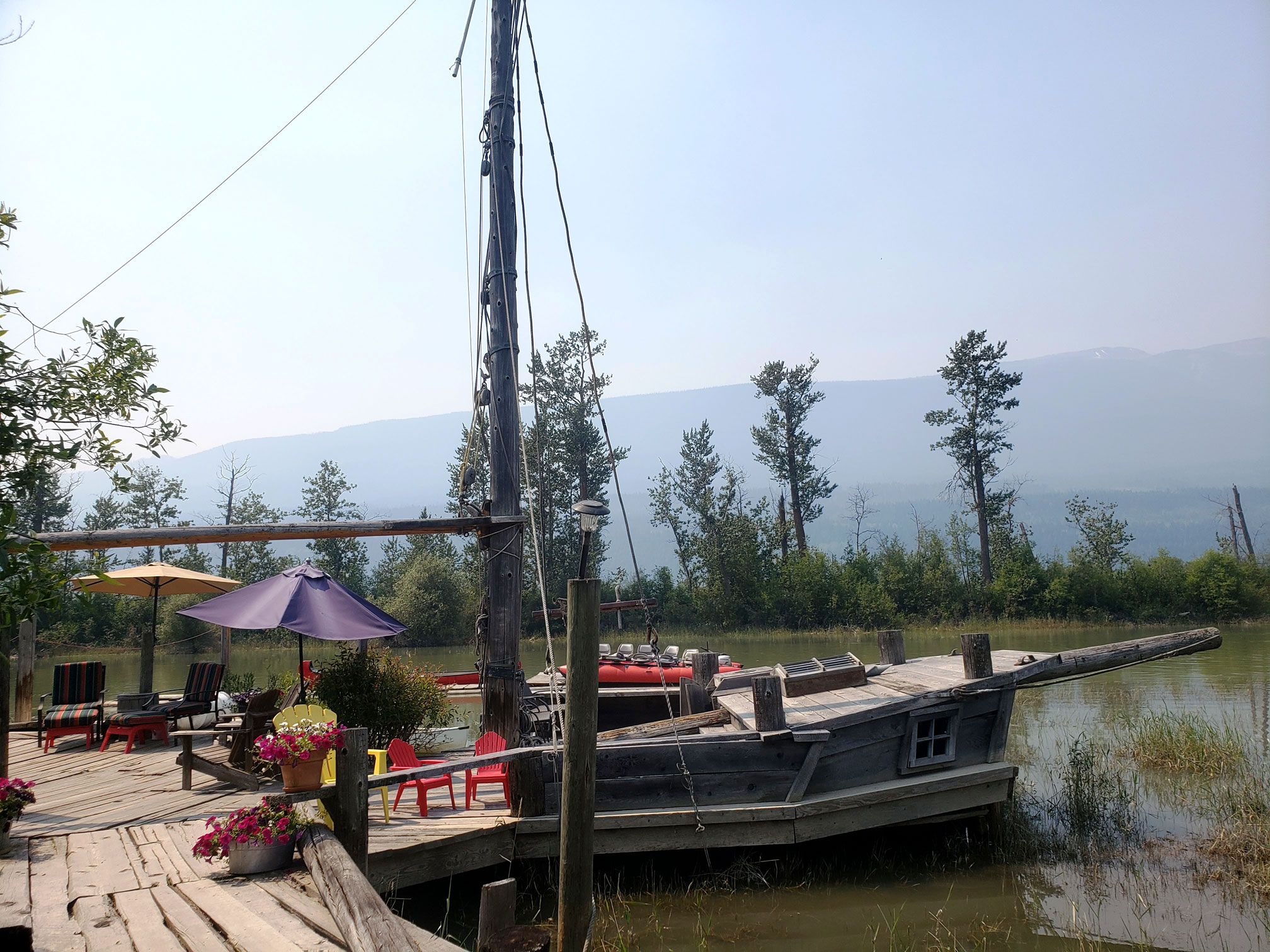 Dock shaped like a pirate ship at Columbia Wetlands Outpost