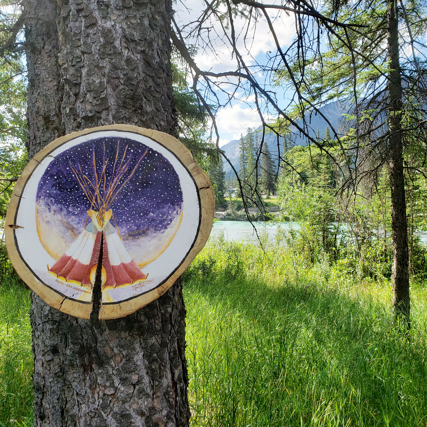 """""""Family Lodge"""" by Janice Iniskim-Aki Tanton on the Art in Nature Trail"""