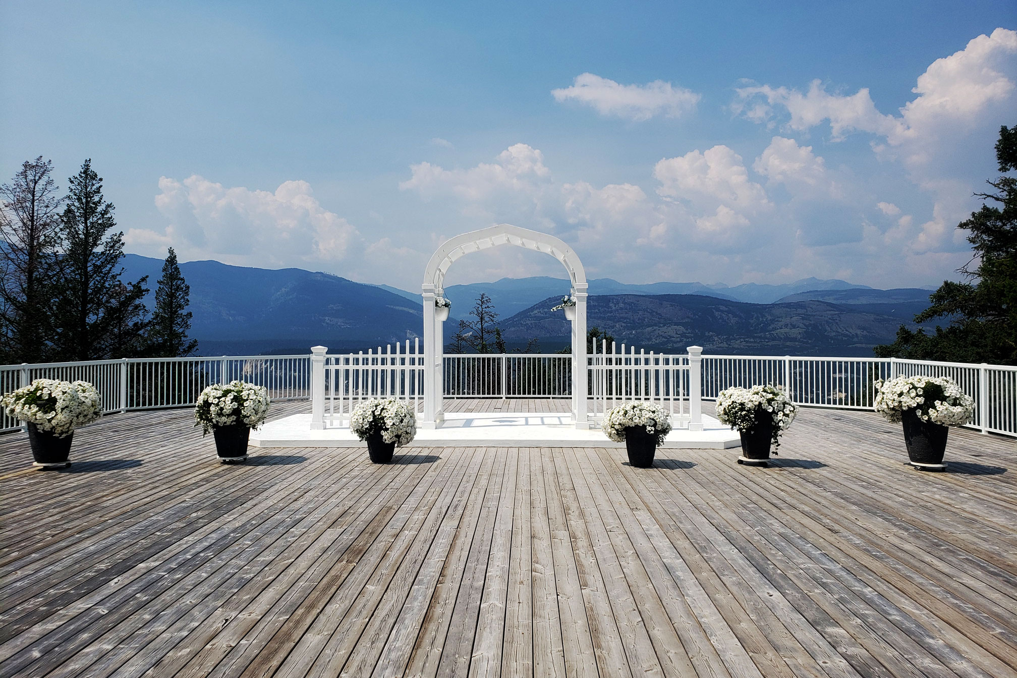 The wedding platform at Fairmont Hot Springs Resort